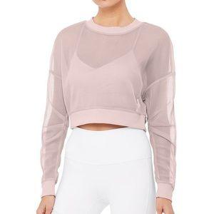 ALO Yoga Row Long Sleeve Top Lavender Mesh Sz M